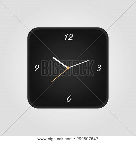 Squre Clock Icon In Flat Style, Square Timer On White Background. Business Watch. Vector Design Elem