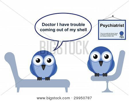 On the Psychiatrist couch with Doctor Quack and Shyness poster