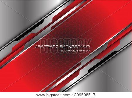 Abstract Red Black Gradient Hexagon Mesh Slash On Silver Polygon Design Modern Futuristic Background