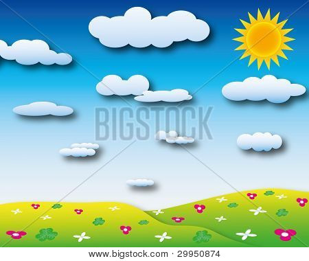 Sunshine day with cloudy sky and many beautiful flower on the hill.