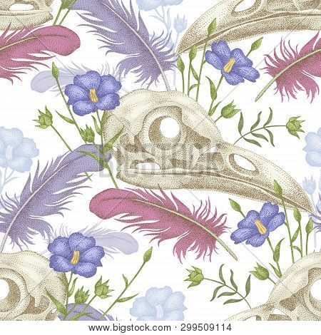Seamless Pattern With Skulls, Feathers And Flowers. Decorative Composition On The Theme Of Death On