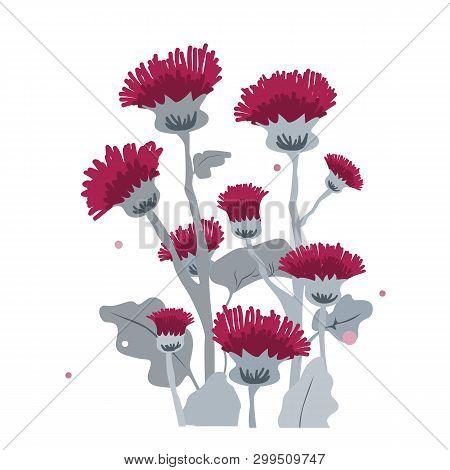 Thistle Or Burdock Flowers. Cartoon Thistle Isolated On White, Vector Illustration