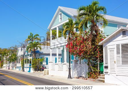 Key West, Florida Usa - April 13, 2015: The Historic And Popular Center And Duval Street In Downtown