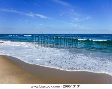 The Surf On A Beautiful Summer Day In Spring Lake Along The Jersey Shore.