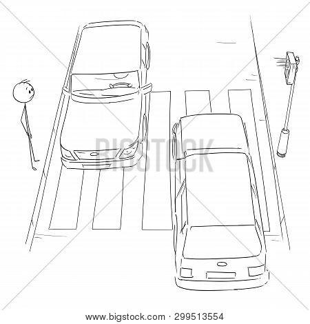 Vector Cartoon Stick Figure Drawing Conceptual Illustration Of Man Waiting On Crosswalk Or Pedestria
