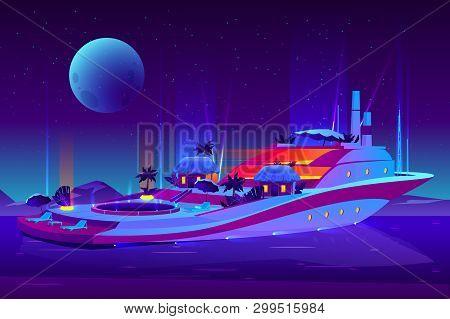 Night Party On Future Floating Hotel, Cruise Ship, Yacht Cartoon Vector Concept. Futuristic, Illumin