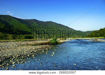 Mountain River Water Landscape. Wild River In Mountains. Mountain Wild River Water View.