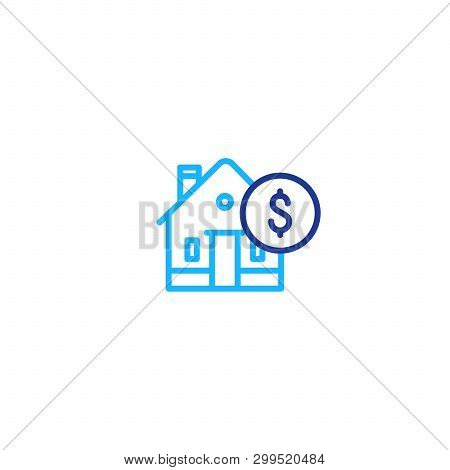 Real Estate Concept, House And Coin Mono Line Icon, Mortgage Money, Home Payment And Insurance, Livi