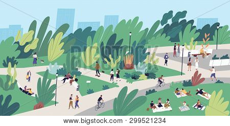 Landscape With People Walking, Playing, Riding Bicycle At City Park. Urban Recreation Area With Men