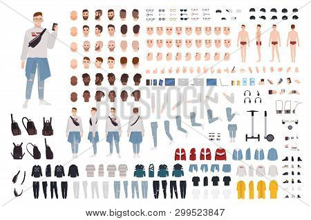 Hipster Boy In Trendy Clothes Constructor Set Or Diy Kit. Guy In Street Style Outfit. Bundle Of Body