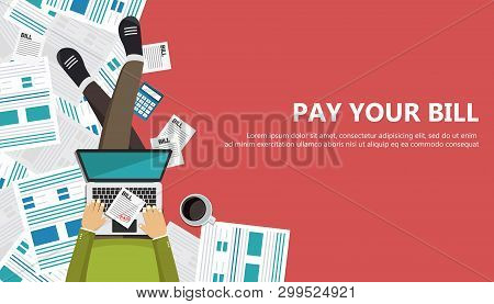 Bill Payment Design In Flat Style. Paying Bills Concept. Man Sitting On The Floor With Lap Top And P