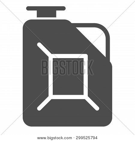 Fuel Canister Solid Icon. Jerrycan Vector Illustration Isolated On White. Petrol Tank Glyph Style De