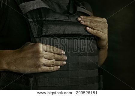 I Can Protect Myself From Yout Shot. Close Up Portrait Of Young Male Soldier. Man In Military Unifor
