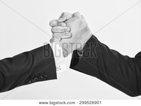 Partnership Commercial Deal. Successful Deal Handshake White Background. Shaking Hands At Meeting. F