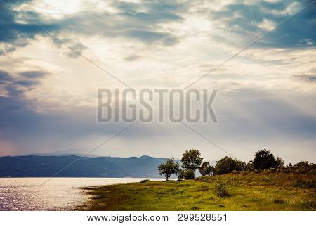 Sunset Over A Mountain Lake In Rhodope Mountains, Bulgaria