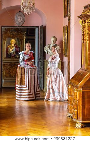 Hillerod, Denmark - June, 2016: Renaissance Style - Beautiful Young Women In Magnificent Dresses In
