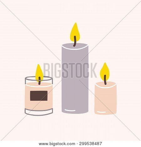 Burning Wax Or Paraffin Aromatic Candles For Aroma Therapy Isolated On Light Background. Cute Hygge