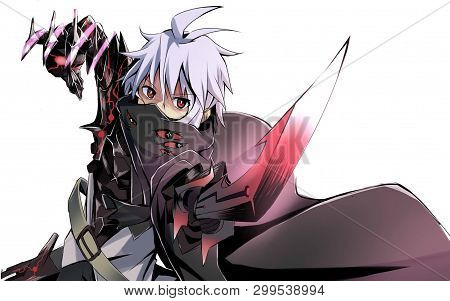 Cute Anime Boy With Mask On Face And Sword In Hand