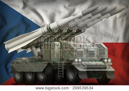 Tactical Short Range Ballistic Missile With Arctic Camouflage On The Czechia Flag Background. 3d Ill