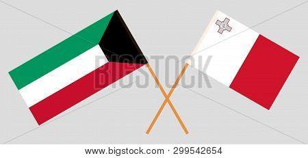 Malta And Kuwait. The Maltese And Kuwaiti Flags. Official Colors. Correct Proportion. Vector