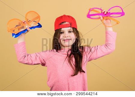 Preparing A Cool Party. Fashionable Party Girl. Adorable Party Girl Holding Fancy Glasses. Cute Smal