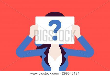Anonymous Woman With Question Mark. Female Person Not Identified By Name, Unknown Faceless User, Inc