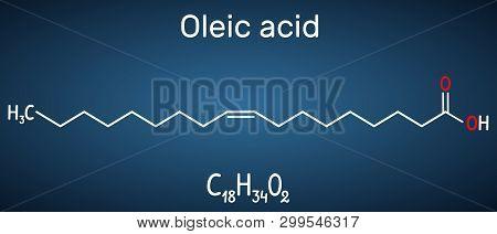 Oleic Acid ( Cis, Omega-9) Molecule. Structural Chemical Formula And Molecule Model On The Dark Blue