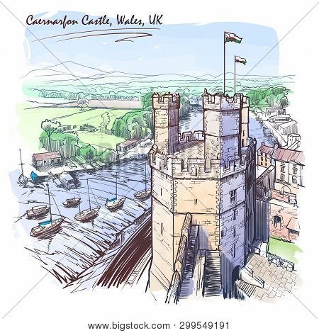 Caernarfon Castle, North Wales, Uk, With A Magnificent Panorama Of Snowdonia Behind. Painted Sketch.