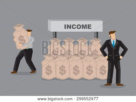 Business Professional Of Unaware Of His Income Being Stolen Behind His Back. Creative Cartoon Vector
