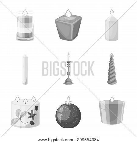 Vector Illustration Of Paraffin And Fire  Logo. Collection Of Paraffin And Decoration    Vector Icon
