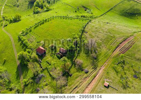 Aerial View Of Countryside Houses