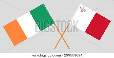 Ireland And Malta. The Irish And Maltese Flags. Official Colors. Correct Proportion. Vector Illustra