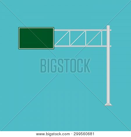 Freeway Road Sign Green Direction Way Vector Icon. Urban Vehicle Information Route Interstate Shield