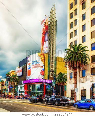 Los Angeles, California, March 2019, Urban Scene By The Corner Of Hollywood Blvd & Highland Av