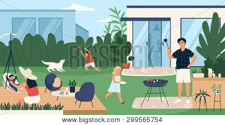 Happy Family Spending Time In Backyard. Mother, Father And Children Performing Recreational Activiti