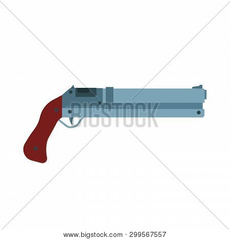 Shotgun Illustration Rifel Vector Icon. Hunting Gun Weapon Barrel Target. Munition Brown Simple Cali