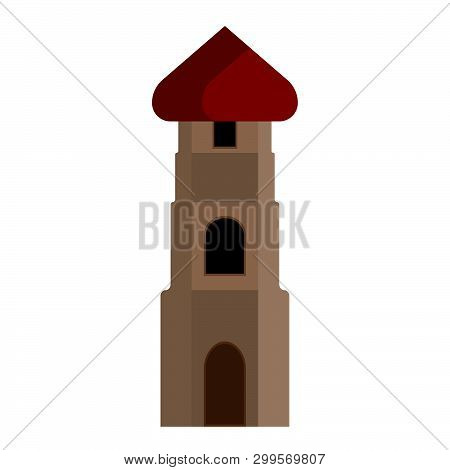 Tower Vector Icon Isolated White. City Construction Architecure Design Landmark Building. Old High F