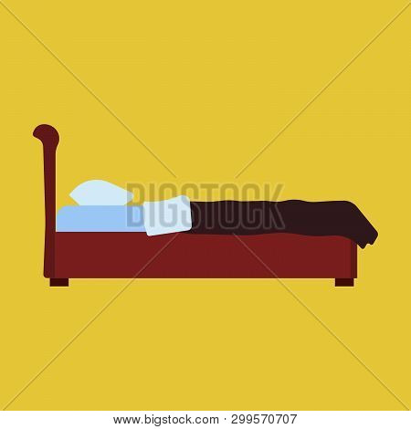 Bed Side View Vector Bedroom Cartoon Furniture Home. Sleep Interior Hotel Rest. Flat Duvet Simple Fl