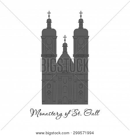 Switzerland, Abbey Of Saint Gall, Vector Travel Illustration, Flat Icon