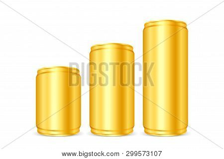 Canned Gold, Iron Cans Golden, Set Blank Metallic Gold Beer Or Soda Cans Isolated On White, Empty Ti