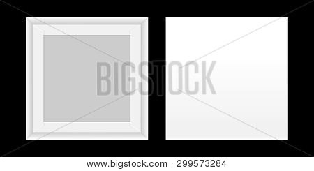 Square White Box Open, Top View Of White Box Isolated On Black Background, Square Box White Packagin
