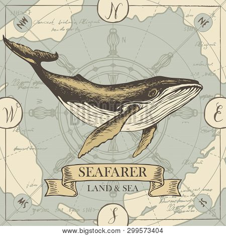 Vector Banner With Big Hand-drawn Whale On The Background Of Old Map And Steering Wheel In Retro Sty