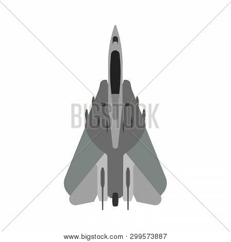 Military Aircraft Vector Icon Top View. Aviation Air Fighter Jet. War Plane Advanced. Interceptor Sp