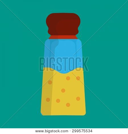 Salt Shaker Vector Icon Illustration Food Kitchen. Spice Ingredient Cooking Glass Bottle Isolated. P