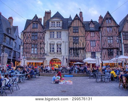 Tours, France - April 17, 2019: View Of Plumereau Square In Medieval City Of Tours. Capital Of The I