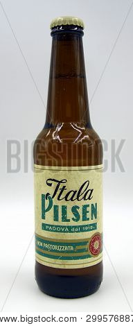 Rome, Italy - May 5, 2019: Bottle Of Itala Pilsen, A Pilsener Styled Beer Brewed By Birra Peroni Ind