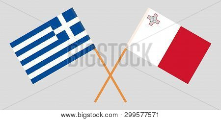 Malta And Greece. The Maltese And Greek Flags. Official Colors. Correct Proportion. Vector Illustrat