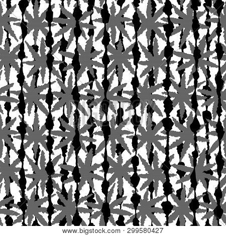 Abstract Black And White Striped Seamless Pattern With Leaves, Stars And Dots