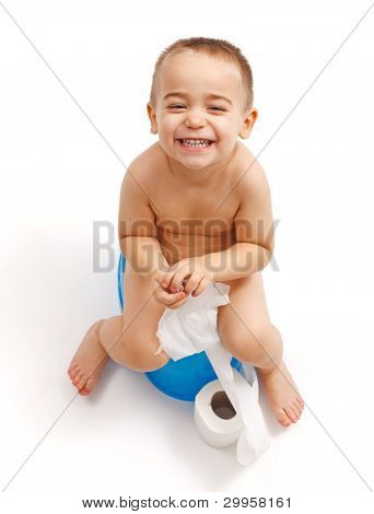Laughing Little Boy Sitting On Potty