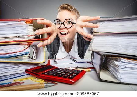 Corporation Administration Bureau Clerk Assistant Concept. Scary Office Lady In Her Kingdom. Obsesse